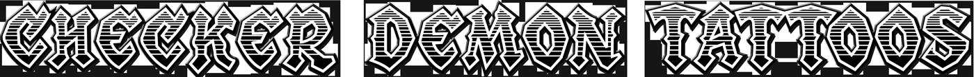 Schriftzug von Checker Demon Tattoos