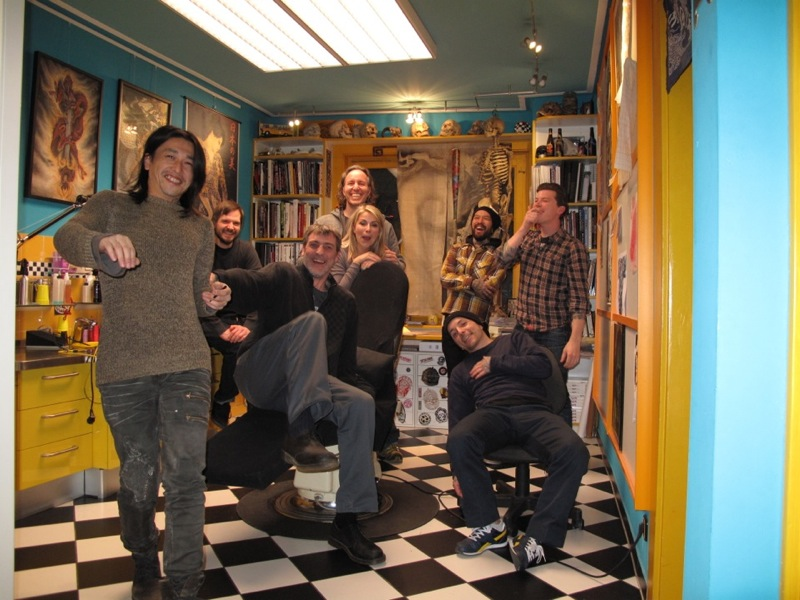Ichibay,Jens,Luke,Lobo and Lolly,Yutaro,Blaise and Owen at Checker Demon,having a laugh!